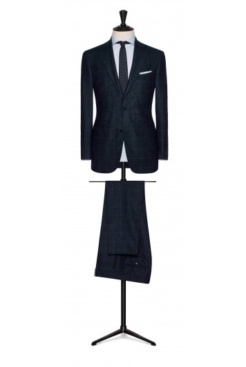 grooms mixed blue wool with bright blue windowpane wedding suit