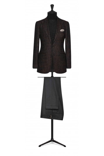 mixed brown striped wool-alpaca wedding jacket