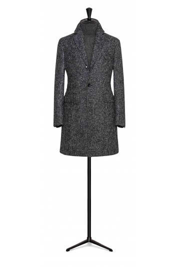 mixed grey felted alpaca-wool check buisness overcoat