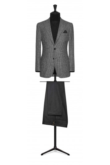 mixed grey striped wool-alpaca wedding jacket
