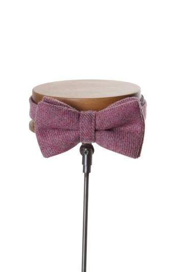 tweed bow tie pink Grooms wedding