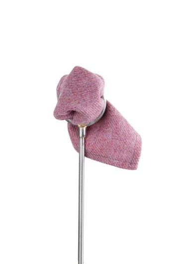 Tweed hot pink Grooms wedding pocket square