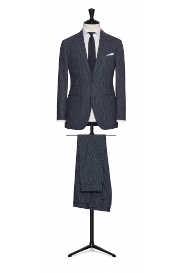 navy-white fine striped wool wedding suit