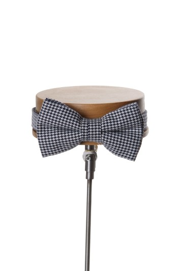 Dogtooth navy Grooms wedding bow tie