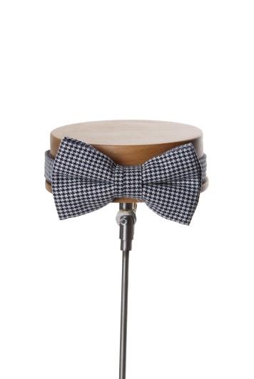 Dogtooth navy wedding bow tie