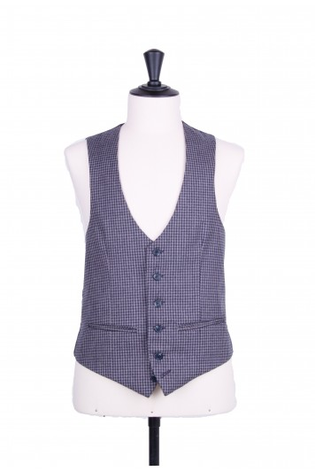 Grooms wedding waistcoat navy check