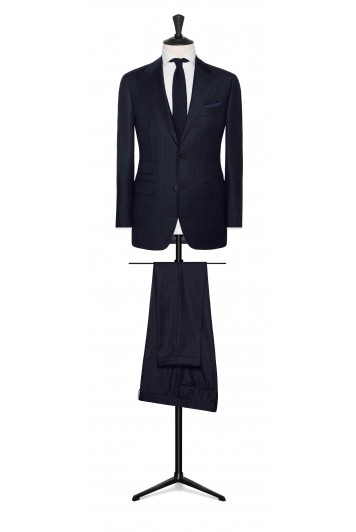 grooms navy blue-midnight blue glencheck wedding suit