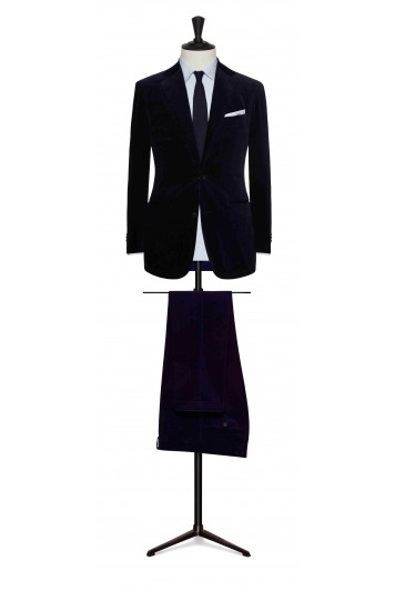 grooms navy blue fine corduroy wedding suit