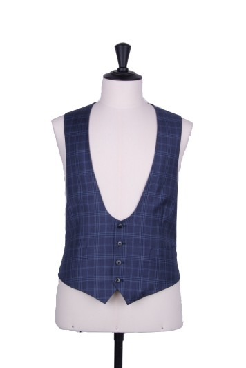 blue check horseshoe waistcoat made to measure