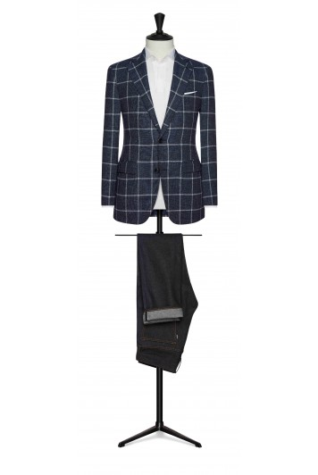 navy mouliné with white windowpane wedding jacket