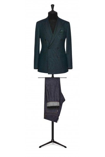 ocean green-black faux uni wool wedding sports jacket