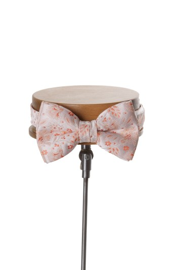 Orange floral wedding bow tie