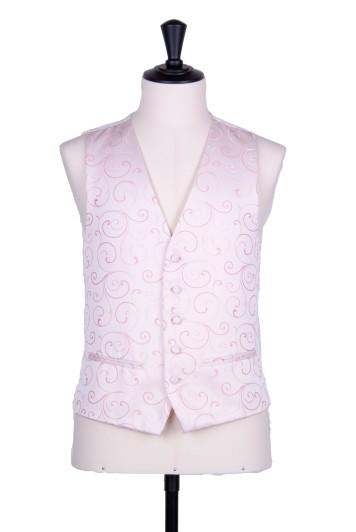 swirl pale pink wedding waistcoat