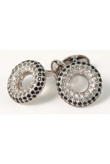 Tonal jet crystal polo cufflinks (clear/black)