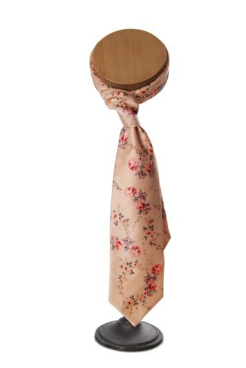 peach wedding floral vinatge cravat grooms