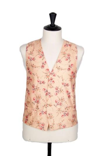 vintage floral peach groom wedding waistcoat