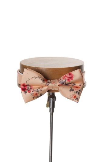 Tea rose peach vintage floral wedding bow tie