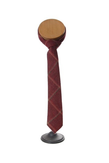 Burgundy tweed Grooms wedding tie