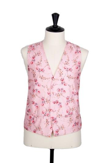 Vintage pink floral Grooms wedding waistcoat