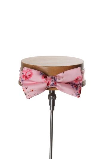 Tea rose pink vintage floral wedding bow tie