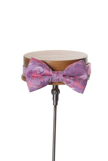 Come together pink paisley wedding bow tie