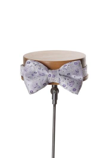 Purple floral wedding bow tie