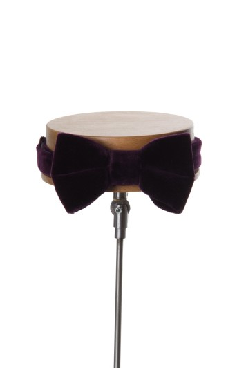 Grooms wedding bow tie purple velvet