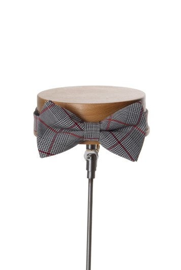 Prince of Wales burgundy wedding bow tie