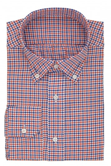 grooms red & blue gingham check wedding shirt