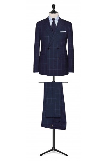 Mid Blue-dark Blue tropical with light Blue windowpane made to measure suit