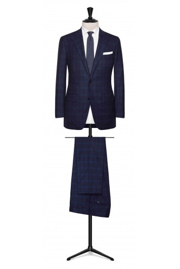 Midnight Blue twill with bright Blue check made to measure suit