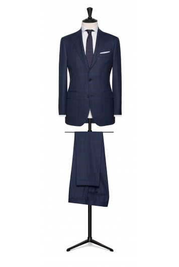 slate blue sharkskin with light blue windowpane wedding suit