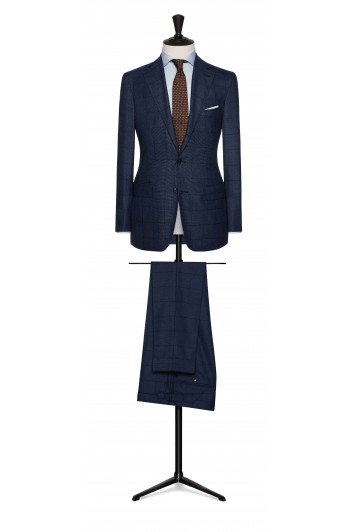mid blue birdseye with dark blue windowpane wedding suit