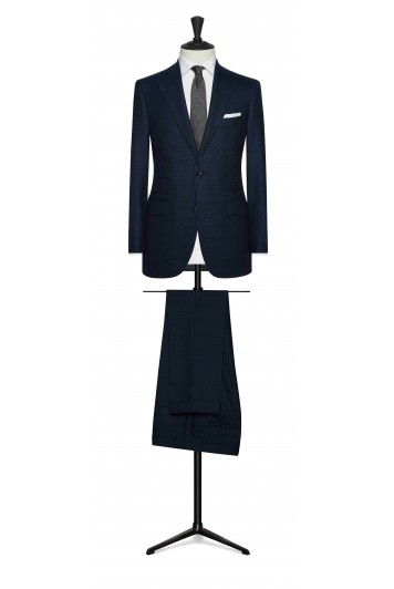 marine blue birdseye with midnight blue windowpane wedding suit