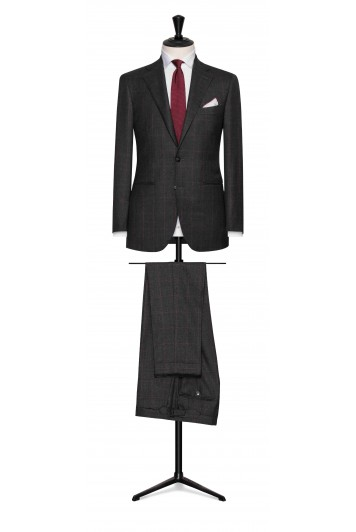dark grey sharkskin with burgundy windowpane wedding suit