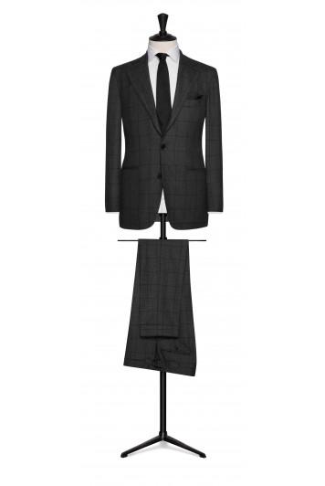 grooms mid grey birdseye with dark grey windowpane wedding suit