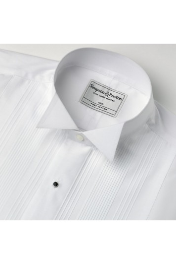 A pleated wing collar slim fit dress shirt.