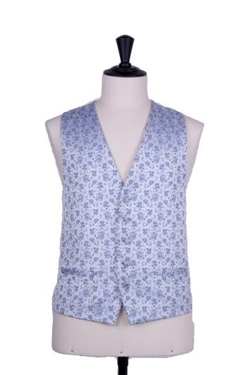 Royal blue Grooms wedding waistcoat floral