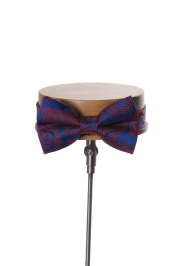 Come together royal blue with red paisley wedding bow tie