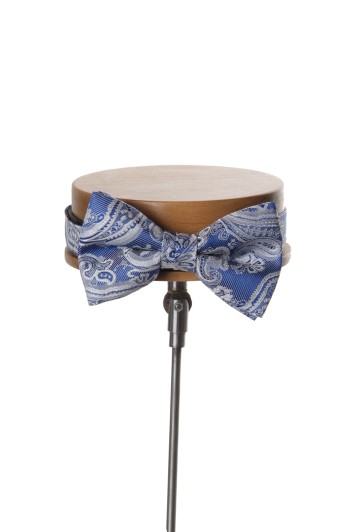 Come together royal blue with silver paisley wedding bow tie