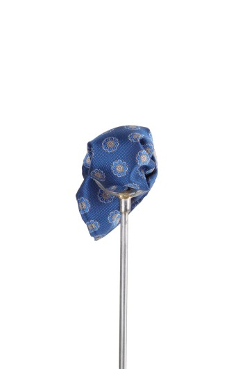 Royal blue Italian floral wedding pocket square