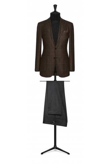rust brown wool glencheck wedding jacket