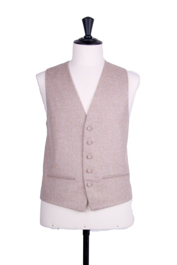 Tweed natural Grooms wedding waistcoat