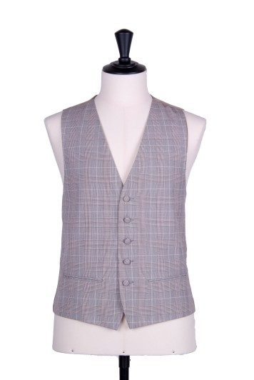 Prince of wales brown single breasted wedding waistcoat