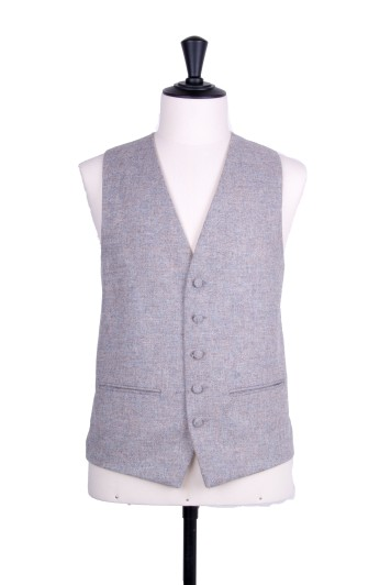 Tweed light grey Grooms wedding waistcoat SB
