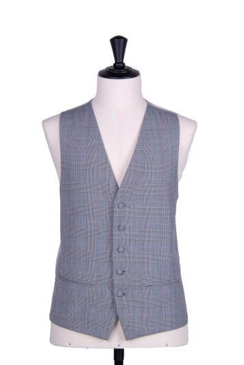 Prince of wales grey single breasted classic wedding waistcoat
