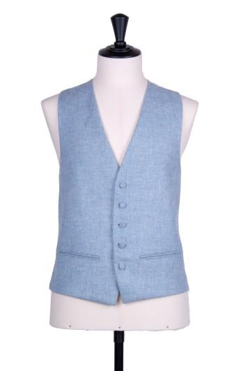 tweed sky blue Grooms wedding waistcoat SB