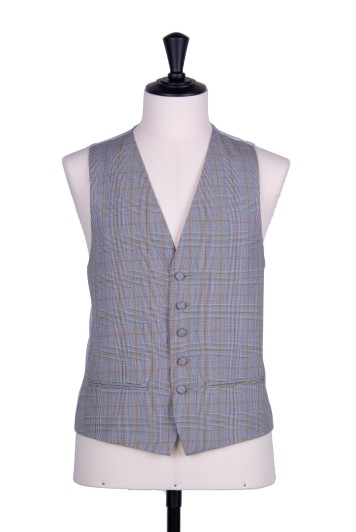 Prince of wales gold single breasted wedding waistcoat