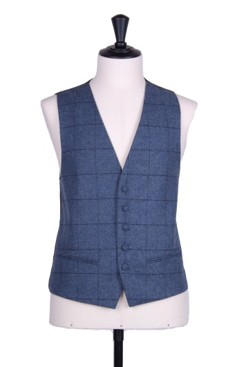 Dark blue tweed check Grooms wedding waistcoat