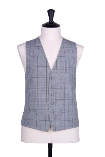 Prince of wales green single breasted wedding waistcoat